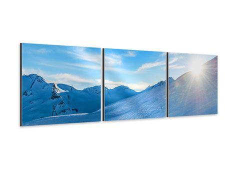 Panorama Aluminiumbild 3-teilig Sonnenaufgang in den Bergen