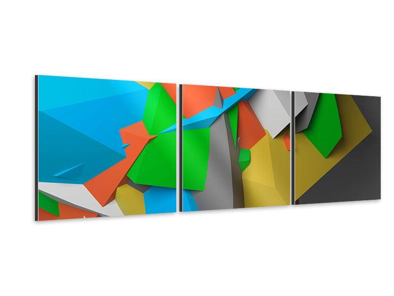 Panorama Aluminiumbild 3-teilig 3D-Geometrische Figuren