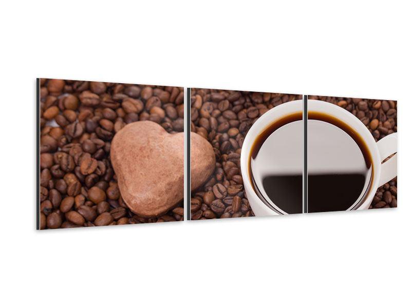 Panorama Aluminiumbild 3-teilig Pausenkaffee