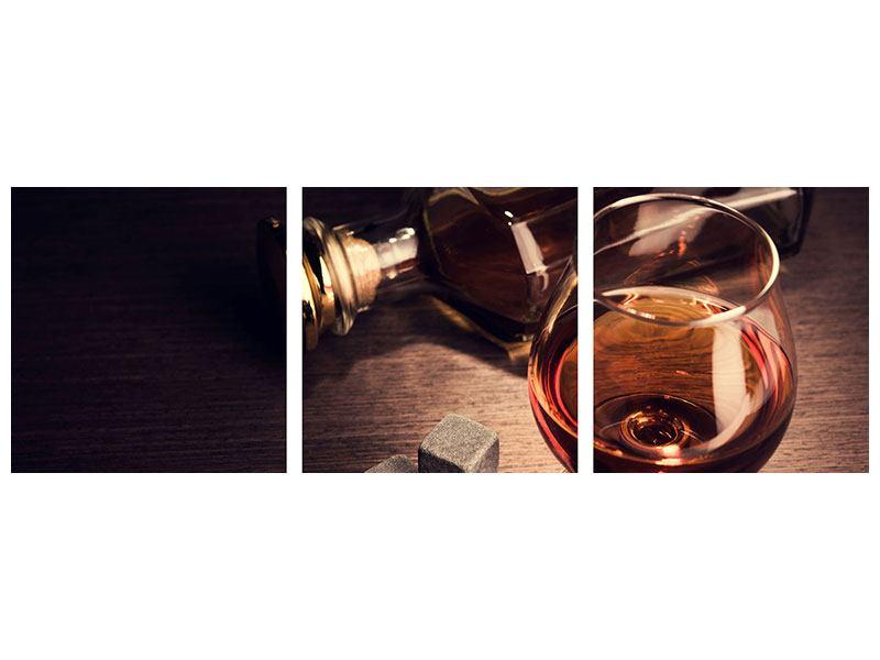 Panorama Aluminiumbild 3-teilig Ein Glas Cognac