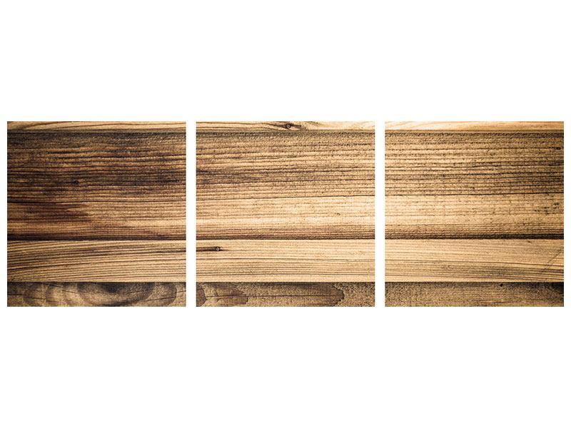 Panorama Aluminiumbild 3-teilig Holztrend
