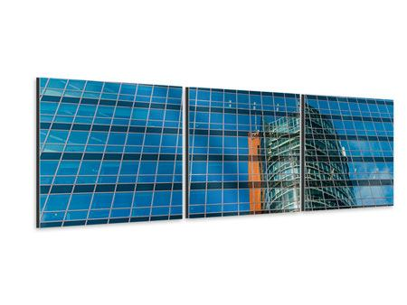 Panorama Aluminiumbild 3-teilig Wolkenkratzer-Spiegel