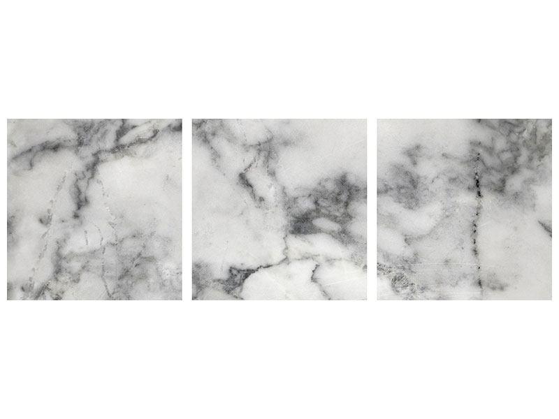 Panorama Aluminiumbild 3-teilig Klassischer Marmor