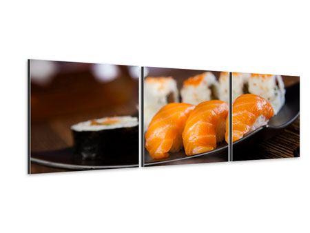Panorama Aluminiumbild 3-teilig Sushi-Gericht