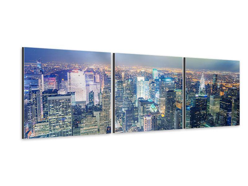 Panorama Aluminiumbild 3-teilig Skyline NY bei Sonnenuntergang