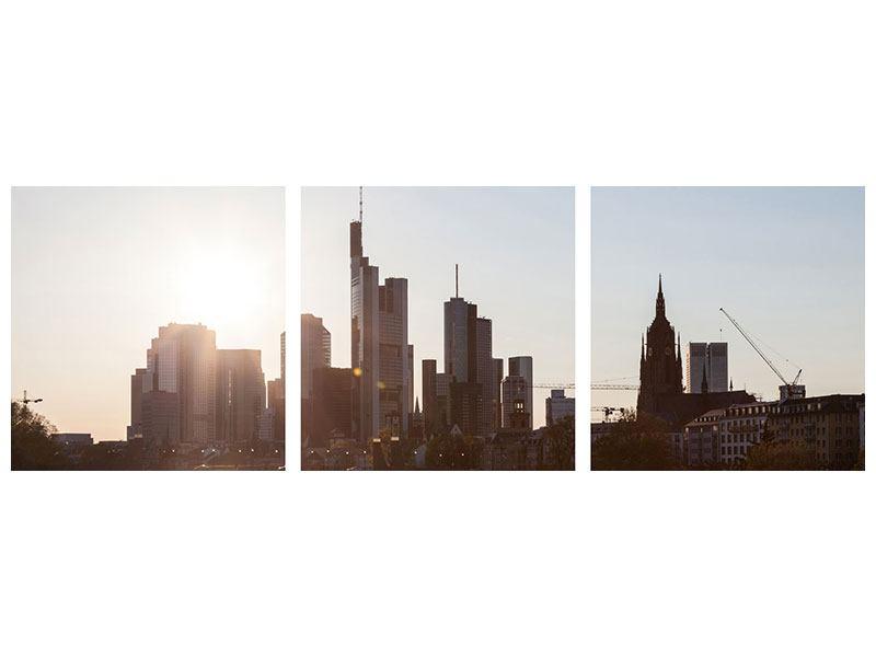 Panorama Aluminiumbild 3-teilig Skyline Sonnenaufgang bei Frankfurt am Main