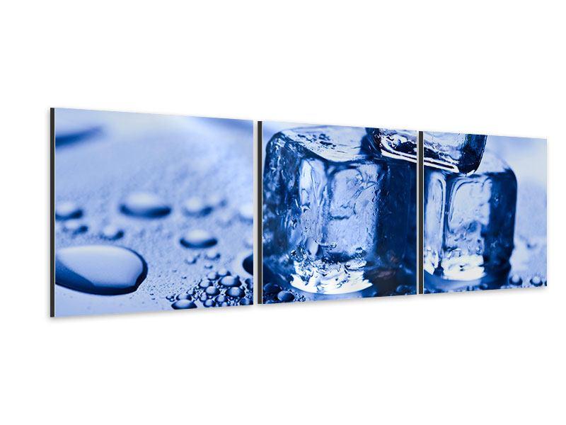Panorama Aluminiumbild 3-teilig Eiswürfel