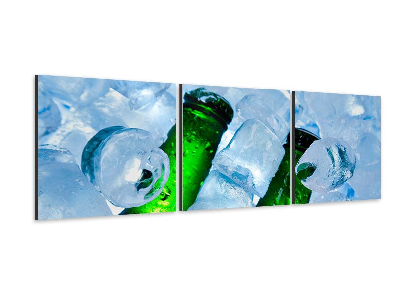 Panorama Aluminiumbild 3-teilig Eisflaschen