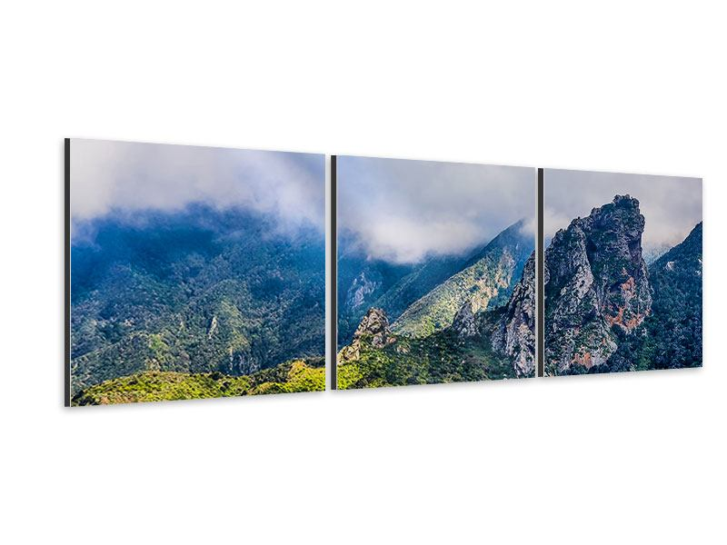 Panorama Aluminiumbild 3-teilig Der stille Berg