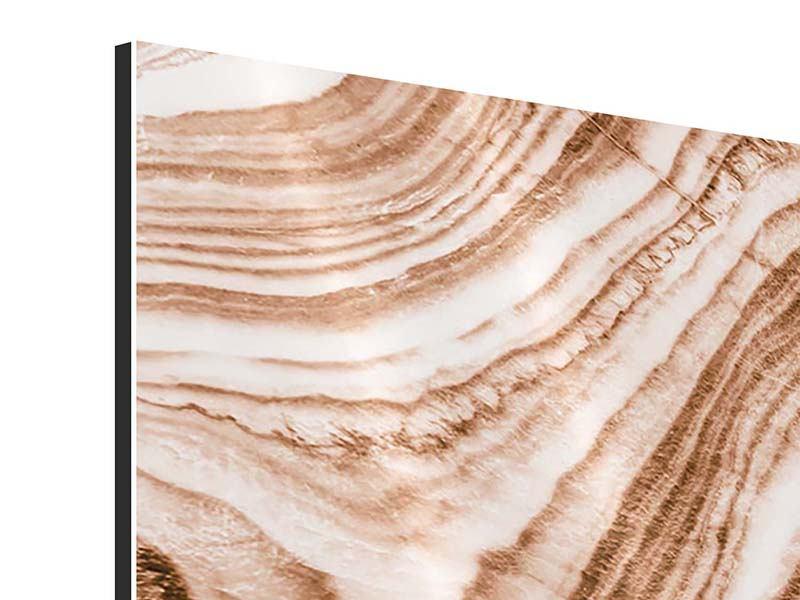 Panorama Aluminiumbild 3-teilig Marmor in Sepia