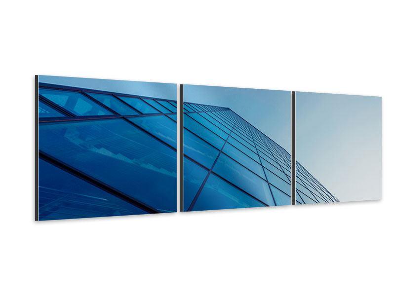 Panorama Aluminiumbild 3-teilig Wolkenkratzer-Highlight