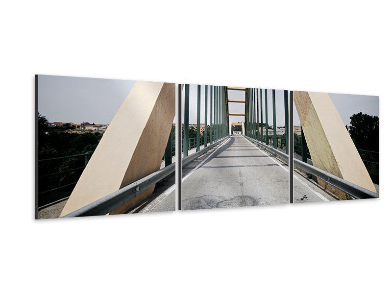 Panorama Aluminiumbild 3-teilig Imposante Hängebrücke