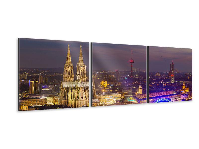 Panorama Aluminiumbild 3-teilig Skyline Kölner Dom bei Nacht