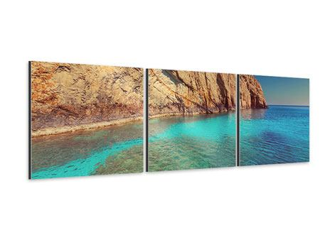Panorama Aluminiumbild 3-teilig Wasser