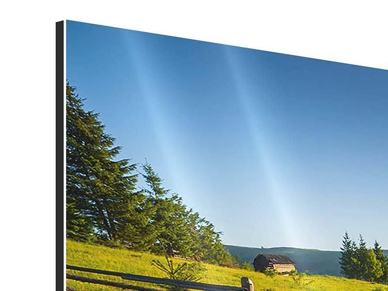 Panorama Aluminiumbild 3-teilig Sonnenaufgang am Berg