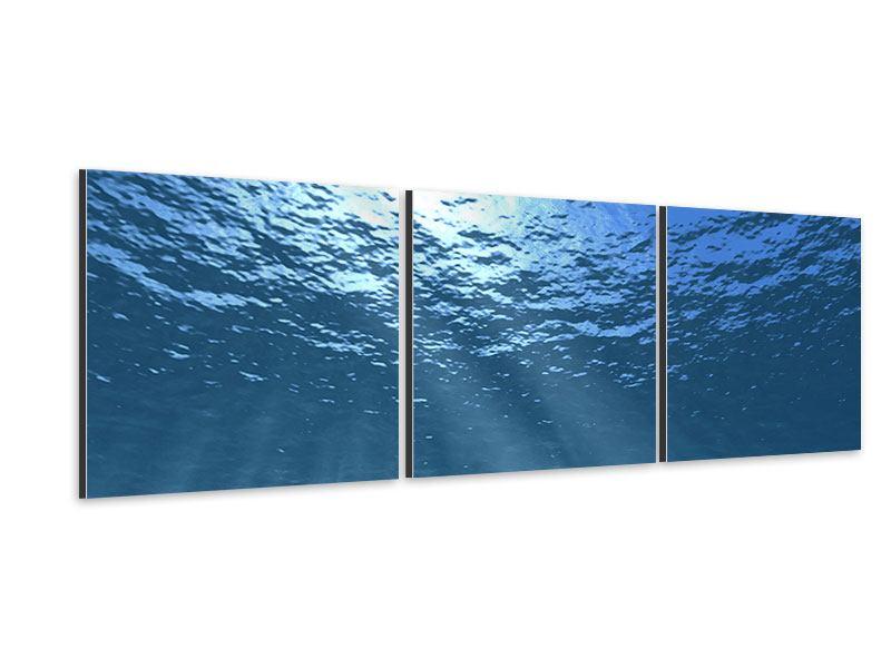 Panorama Aluminiumbild 3-teilig Sonnenstrahlen unter Wasser