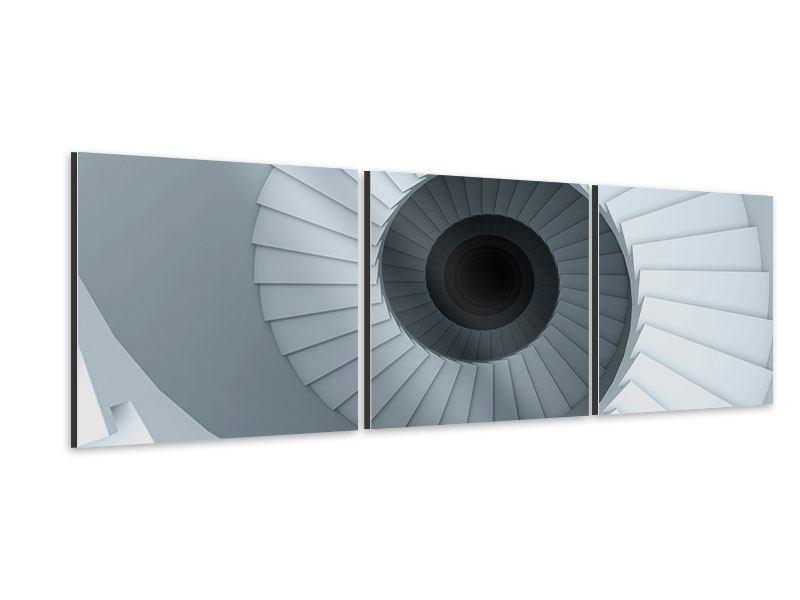 Panorama Aluminiumbild 3-teilig 3D Wendeltreppe