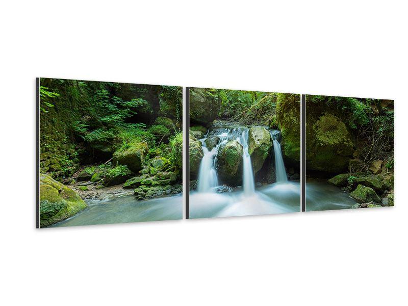 Panorama Aluminiumbild 3-teilig Wasserspiegelungen