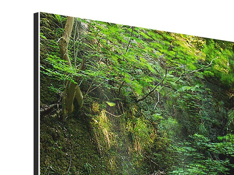 Panorama Aluminiumbild 3-teilig Fallendes Wasser