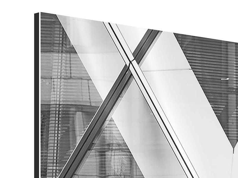 Panorama Aluminiumbild 3-teilig Teil eines Wolkenkratzers