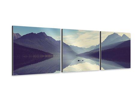 Panorama Aluminiumbild 3-teilig Bergspiegelung