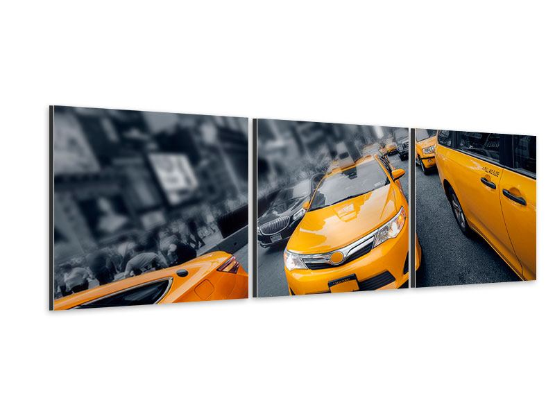 Panorama Aluminiumbild 3-teilig Taxi in NYC