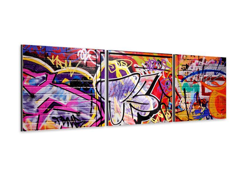 Panorama Aluminiumbild 3-teilig Graffiti Kunst