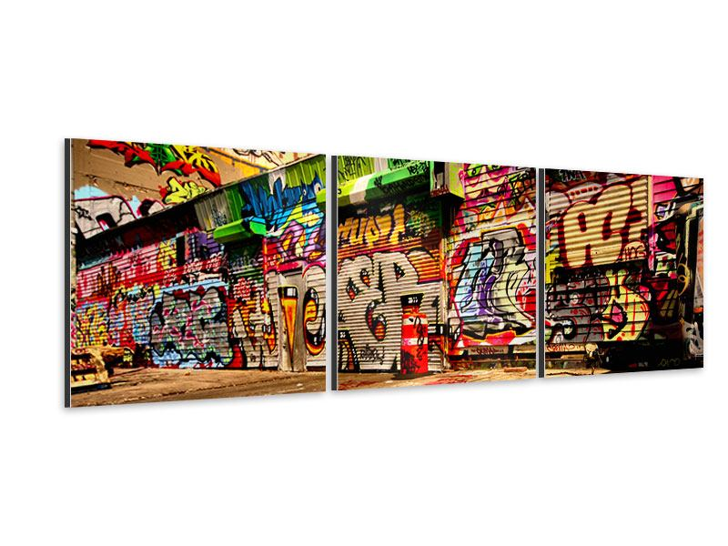 Panorama Aluminiumbild 3-teilig NY Graffiti