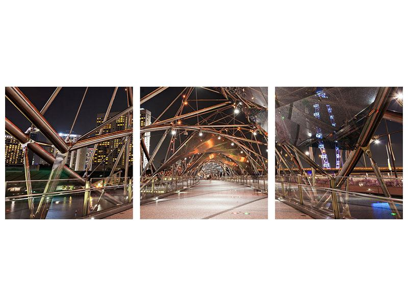 Panorama Aluminiumbild 3-teilig Brückenlichter