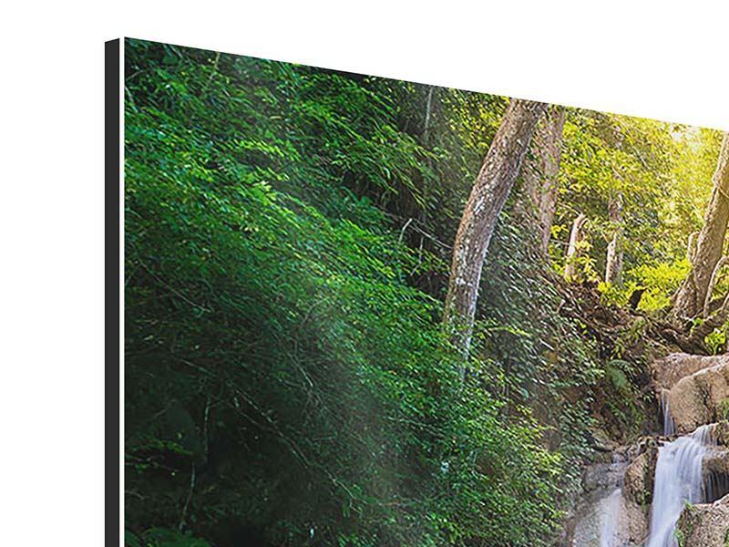 Panorama Aluminiumbild 3-teilig Terrasse am Wasserfall