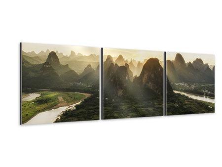 Panorama Aluminiumbild 3-teilig Die Berge von Xingping