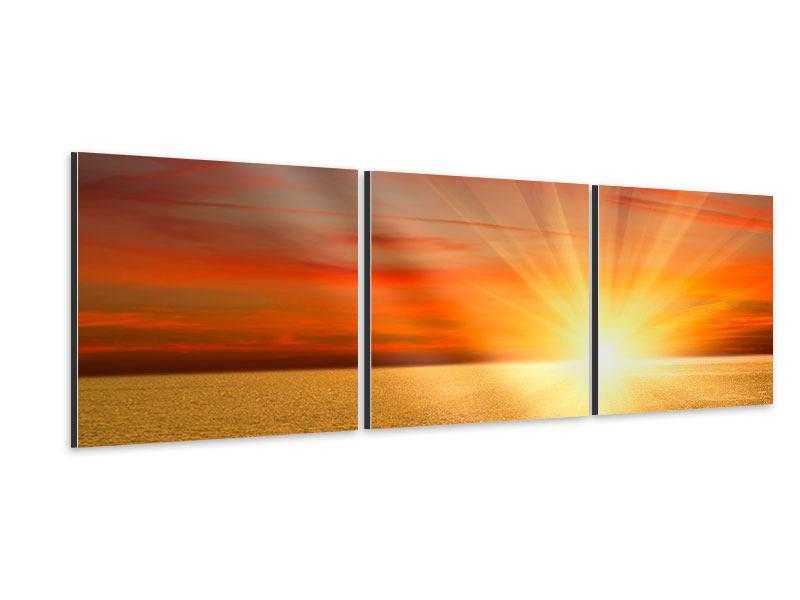 Panorama Aluminiumbild 3-teilig Der Sonnenuntergang