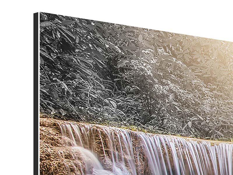 Panorama Aluminiumbild 3-teilig Glücklicher Wasserfall