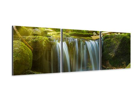 Panorama Aluminiumbild 3-teilig Schönheit des fallenden Wassers