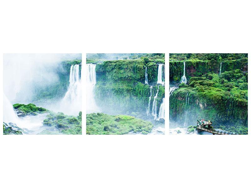 Panorama Aluminiumbild 3-teilig Wasserfälle