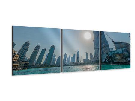 Panorama Aluminiumbild 3-teilig Wolkenkratzer-Architektur Dubai