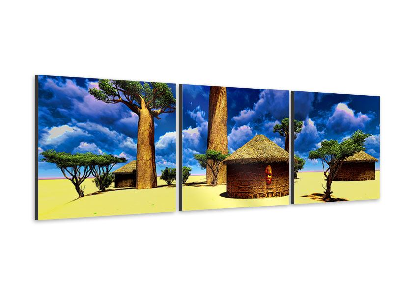 Panorama Aluminiumbild 3-teilig Ein Dorf in Afrika