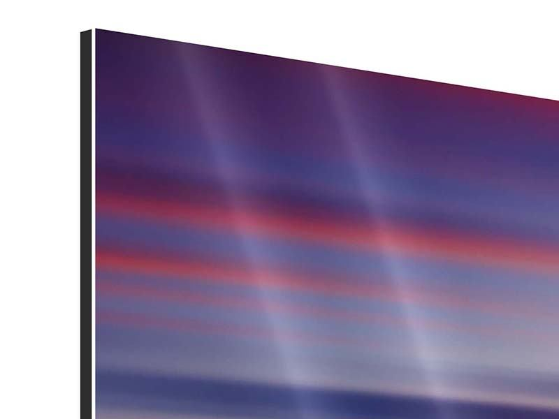 Panorama Aluminiumbild 3-teilig Majestätischer Sonnuntergang am Berggipfel