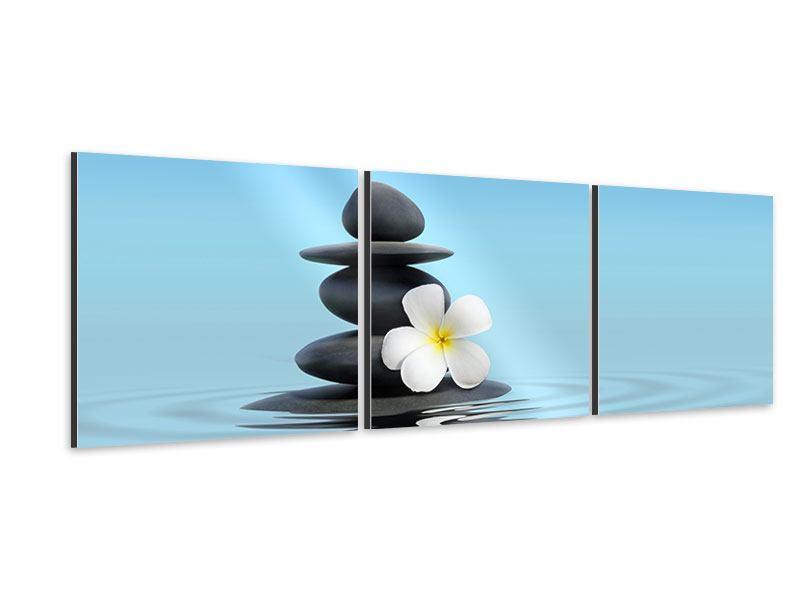 Panorama Aluminiumbild 3-teilig Zen Steine