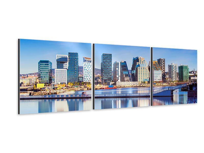 Panorama Aluminiumbild 3-teilig Skyline Oslo