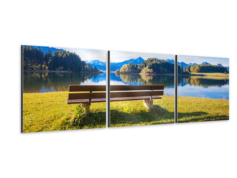 Panorama Aluminiumbild 3-teilig Sitzbank mit Bergpanorama