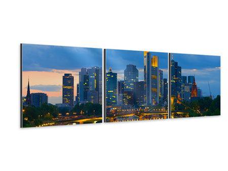 Panorama Aluminiumbild 3-teilig Skyline Frankfurt am Main