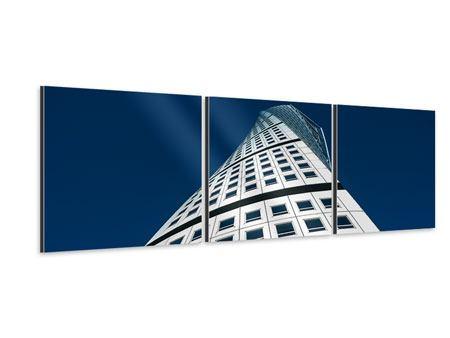 Panorama Aluminiumbild 3-teilig Meisterstück Wolkenkratzer
