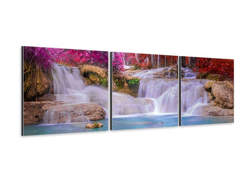 Panorama Aluminiumbild 3-teilig Paradiesischer Wasserfall