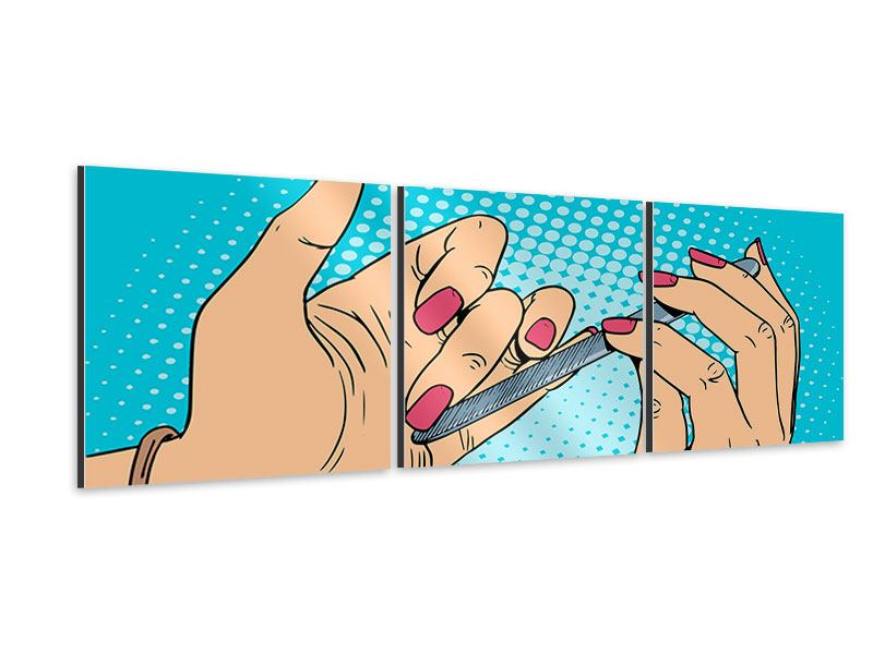 Panorama Aluminiumbild 3-teilig Pop Art Nails