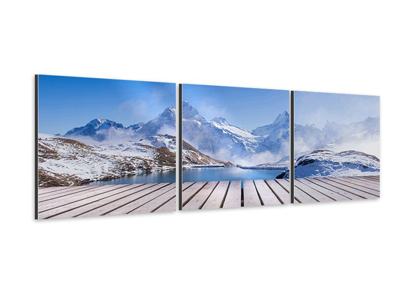 Panorama Aluminiumbild 3-teilig Sonnenterrasse am Schweizer Bergsee