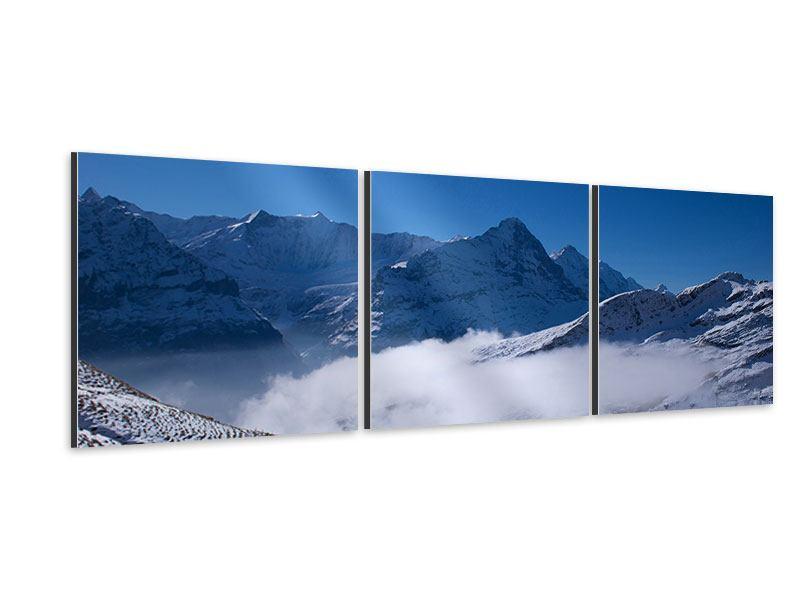 Panorama Aluminiumbild 3-teilig Sonnenterrasse in den Schweizer Alpen