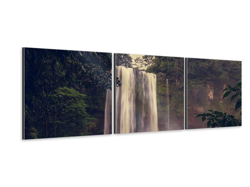 Panorama Aluminiumbild 3-teilig Wasserfall in Mexiko