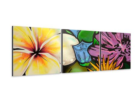 Panorama Aluminiumbild 3-teilig Graffiti Flowers