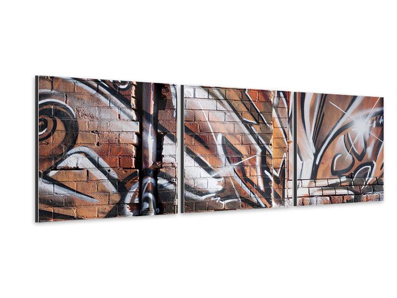 Panorama Aluminiumbild 3-teilig Graffiti Mauer